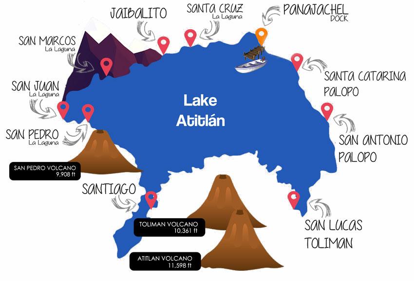 Mapa del lago Atitlán